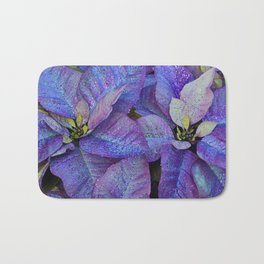 Purple poinsettia flowers Bath Mat