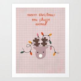 Fluffy Reindeer Art Print