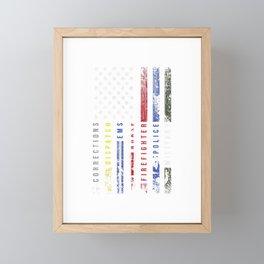 First Responder Hero Flag Nurse EMS Police Fire Gifts Men T-Shirt Framed Mini Art Print