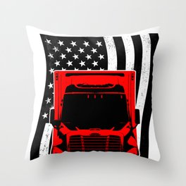 Trucker Flag Street Road Driver Banner Route Gift Throw Pillow