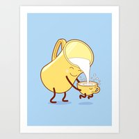 milk Art Prints featuring milk by gotoup