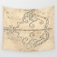 bow Wall Tapestries featuring Artemis' Bow by ViviRajski