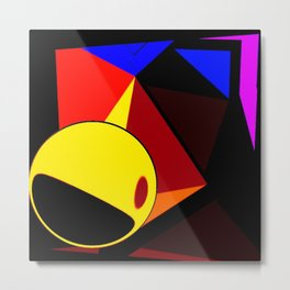 geometric party abstract geometric colorful 3d painting  Metal Print