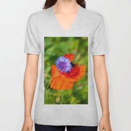 Cornflower kisses poppy Unisex V-Neck