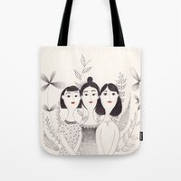sisters Tote Bags featuring Sisters by Charline Denys
