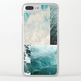 Ocean Waves Aesthetic Collage Clear iPhone Case