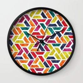 Seamless Colorful Geometric Pattern XII Wall Clock