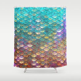 Aqua and Gold Mermaid Scales Shower Curtain