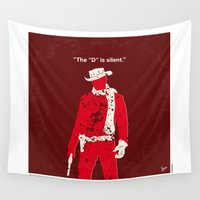 tarantino Wall Tapestries featuring No184 My Django Unchained minimal movie poster by Chungkong