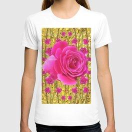 "FUCHSIA PINK ""ROSES & THORNS""  GOLD ART  ROSE  PATTERNS T-shirt"