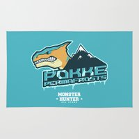 monster hunter Area & Throw Rugs featuring Monster Hunter All Stars - Pokke Permafrosts  by Bleached ink