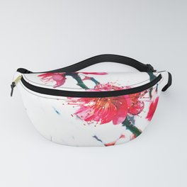Cherry pink blossoms watercolor painting #7 Fanny Pack