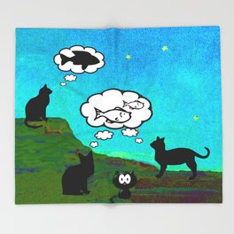 Cats Dreaming inTwilight Throw Blanket