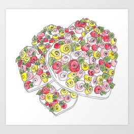 Iced Flower Hearts Art Print