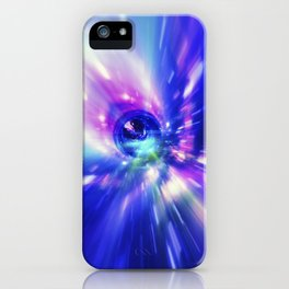 Interstellar, time travel and hyper jump in space. Flying through wormhole tunnel or abstract energy iPhone Case