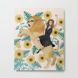 Fearless (Woman and Lion)  Metal Print