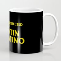 tarantino Mugs featuring Written And Directed By Quentin Tarantino by FunnyFaceArt