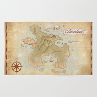 neverland Area & Throw Rugs featuring Map of Neverland by Kaz Palladino & Awkward Affections