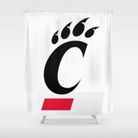 cincinnati Shower Curtains featuring NCAA - Cincinnati Bearcats by Katieb1013