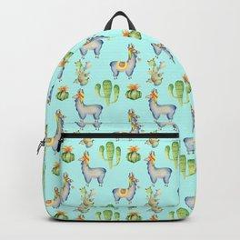 Hand painted teal blue pink yellow watercolor cactus Inca llamas Backpack