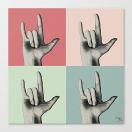 """I love you"" Vintage in sign language Canvas Print"