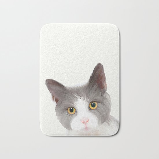 Cat with Yellow Eyes Bath Mat