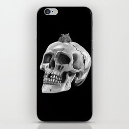 Cracked skull with mouse BW iPhone Skin