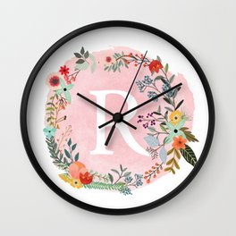 Flower Wreath with Personalized Monogram Initial Letter R on Pink Watercolor Paper Texture Artwork Wall Clock