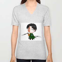 "Chibi Captain Levi (Rivaille) from ""Attack On Titan""/""Shingeki No Kyojin"" Unisex V-Neck"