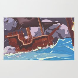 Pirate ship in a storm Rug