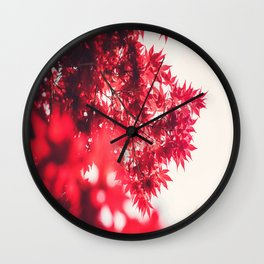 Transparent Red Japanese Maple Round Photo Wall Clock