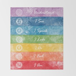 Color Chakra Healing Affirmation Throw Blanket