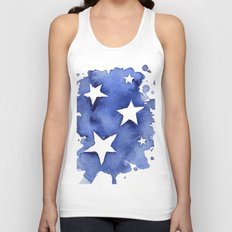 Stars Abstract Blue Watercolor Geometric Painting Unisex Tank Top