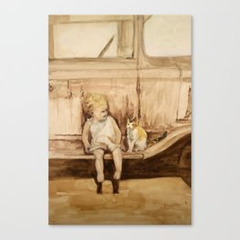 Going Places, a child and cat friendship Canvas Print