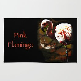 Pink Flamingo in the rain Rug