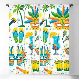 Colorful Brazilian Carnaval mandala Blackout Curtain