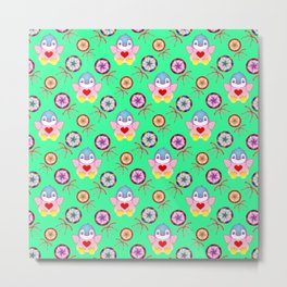 winter baby penguins, retro vintage colorful lollipops, sweet candy holiday green pattern. Nursery Metal Print