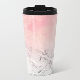 Modern blush pink watercolor ombre white marble Travel Mug