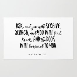 Matthew 7:7 Bible Verse Rug