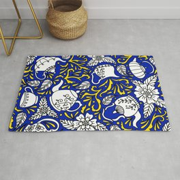 Tea Time Blue and Yellow Rug