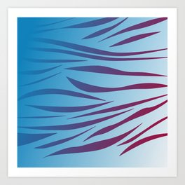Pink wild lines on blue Art Print