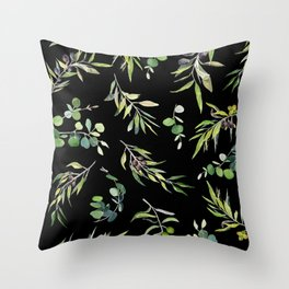 Eucalyptus and Olive Pattern  Throw Pillow