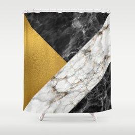 Gold foil white black marble #4 Shower Curtain