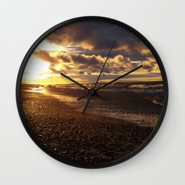 Stormy  Superior Sunset Wall Clock