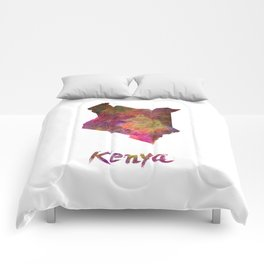 Kenya in watercolor Comforters