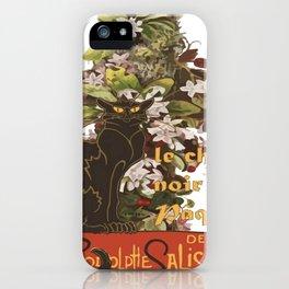 Easter Le Chat Noir de Paques With Floral Cross iPhone Case