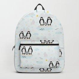 Penguin Family In Winter Snow Backpack
