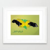 jamaica Framed Art Prints featuring Jamaica by Dandy Octopus