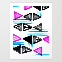 Cute Triangles and Lines Art Print