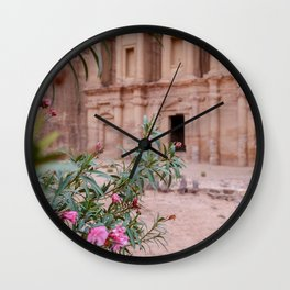 The Monastery Petra Jordan with Flowers Wall Clock